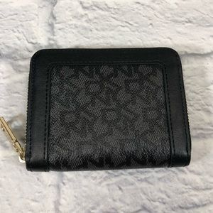 DKNY Leather wallet, gold zip around